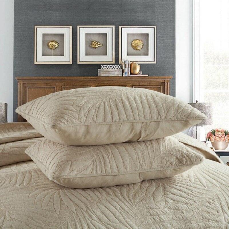 CHAUSUBขนาดใหญ่ชุดผ้านวม3ชิ้นธรรมดาผ้าฝ้ายผ้าห่มปักผ้าคลุมเตียงปลอกหมอนสีขาวสีเบจเตียงขนาดคิงไซส์ผ้าคลุมเตียง-ใน ผ้าคลุมเตียง จาก บ้านและสวน บน   3