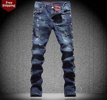 Зима синий прямой отверстие мужские джинсы нищий ножки брюки мужские брюки персонализированные известный дизайнер марки высокое качество