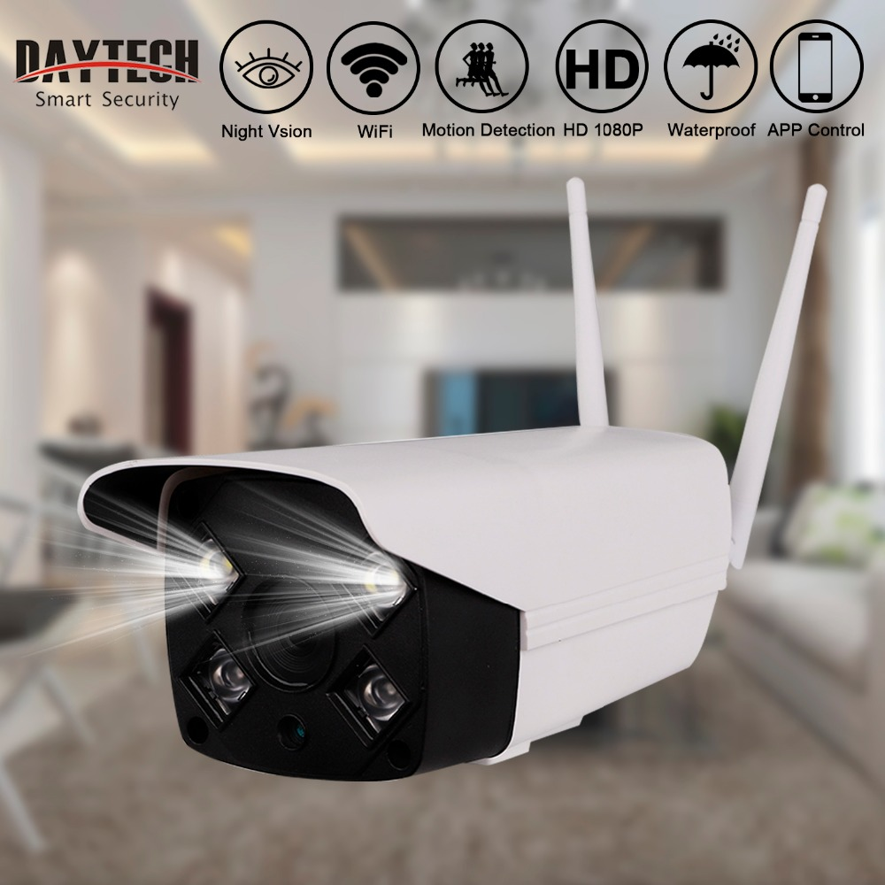 DAYTECH Waterproof Outdoor IP Camera Wireless HD720 1080P Night Vision Security Monitor Motion Detection White LED