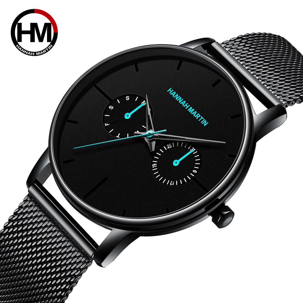 Men Watches Top Brand Luxury Multifunction Small Dial Stainless Steel Mesh INS Style Waterproof Wristwatches Relogio Masculino