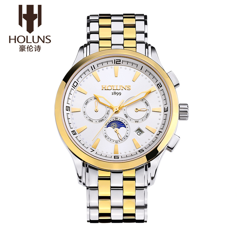 ФОТО HOLUNS Business MOON SERIES Men Stainless Steel Waterproof Automatic Mechanical Watch Wristwatches With Original Gift Package