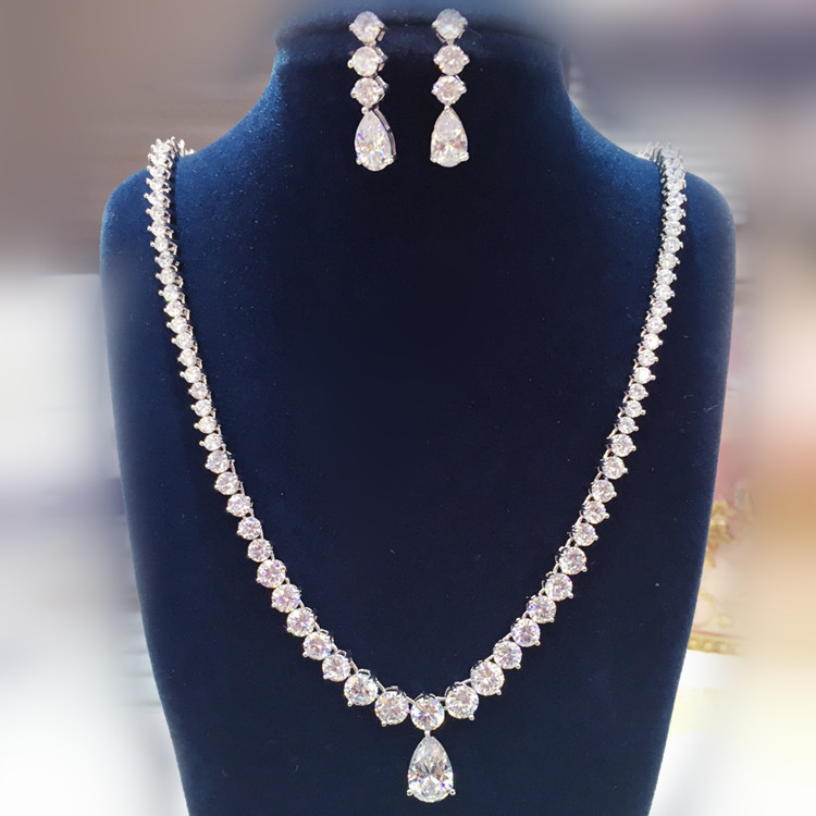 2016 New Style Rhodium Plated Earrings Necklace AAA CZ Party Jewelry Set for women and girls, Dress Accessories GLN0258/GLE54212016 New Style Rhodium Plated Earrings Necklace AAA CZ Party Jewelry Set for women and girls, Dress Accessories GLN0258/GLE5421