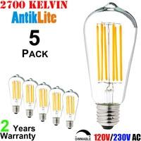 AntikLite ST21 60 75 Watt Incandescent Equal Medium Edison Screw ES Base E26 E27 Nipple Tipped