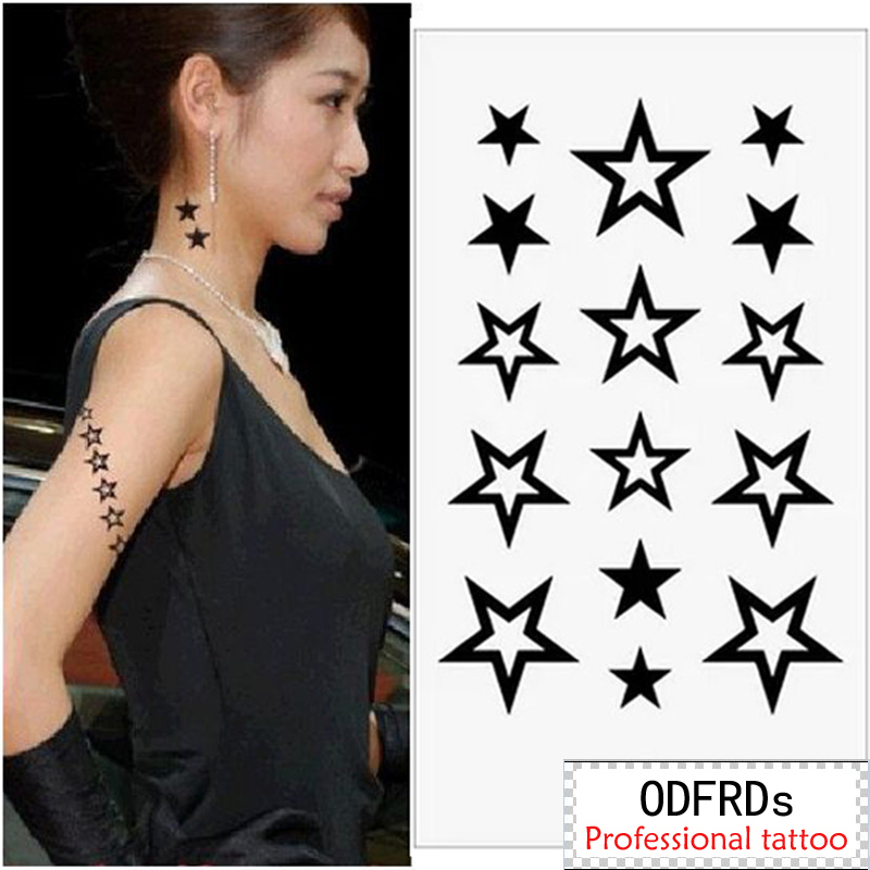 US $1 99 |(Min order $0 5) Temporary Tattoo For man Woman Waterproof  Stickers makeup maquiagem make up STAR STARS BLACK tattoo MM044-in  Temporary