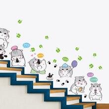 Cartoon Hamsters Wall Stickers Vinyl DIY Animal Mural Art for Kindergarten Kids Rooms Decoration