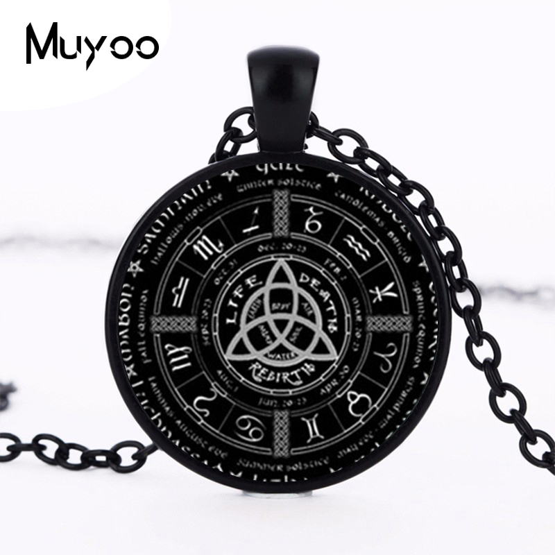 2017 New Pagan Wheel Of The Year Necklaces Pentagram Pendant Round Photo Wiccan Jewelry Glass Cabochon Necklace Link Chain HZ1