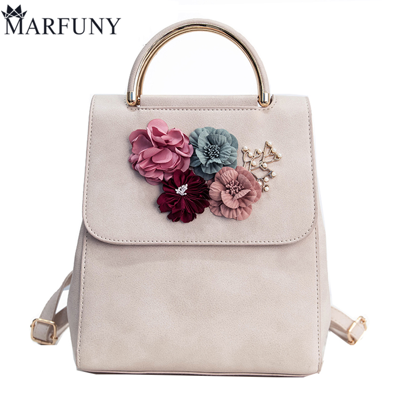 MARFUNY Brand Fashion Flowers Backpack Fresh Style Backpacks For Teenage Girls School Bags 2017 New Floral Women Bag Sac A Dos sports letter short sleeve t shirt checked shorts twinset for boys