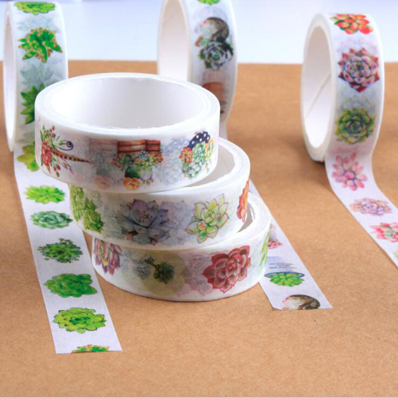 1pc/pack, Cute Plants And More Meat Korea And Paper Tape Decorative Scotch Tape Scrapbooking Stickers Stationery Labels 15mmx5m
