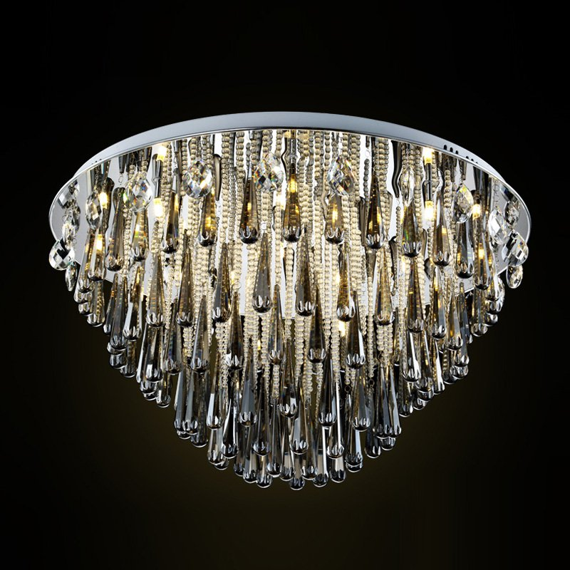 Noble Smoky gray Crystal Hanging Parlor Ceiling Light Luxury Modern Tiers Living Room Bedroom Hotel Ceiling Lighting fixtures