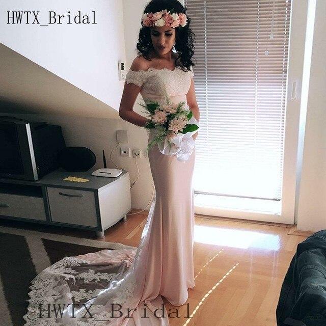 Elegant Blush Pink Bridesmaid Dresses 2018 Off Shoulder Vintage Lace Long  Wedding Guest Dress Cheap Plus Size Maid Of Honor Gown ab92e25fcf05