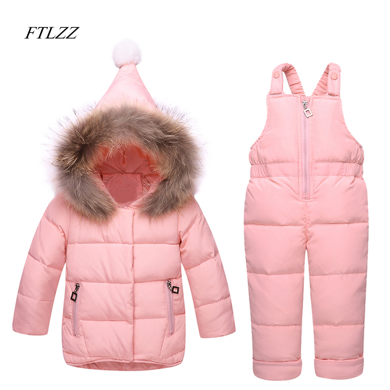Winter Baby Boys Girls Clothes White Duck Down Rompers Large Raccoon Fur Snowsuit Warm Jacket Snowsuit Coat Thick Kids Clothing russia winter boys girls down jacket boy girl warm thick duck down