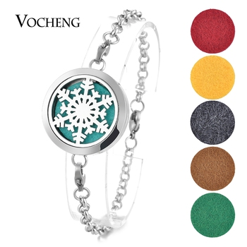 10pcs/lot 316L Stainless Steel 30mm Aromatherapy Locket Bracelet Christmas Bangle Magnetic 2 Styles with Oil Pads VA-288*10