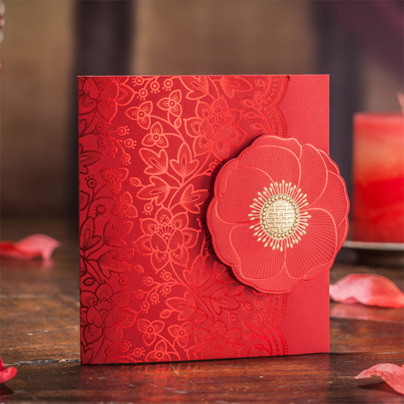 Folding Style Red Big Flower Invitations For Wedding BLank Paper Printing Invitation Cards Convite Para Casamento Card kIt square design white laser cut invitations kit blanl paper printing wedding invitation card set send envelope casamento convite