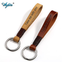 Ayliss New 1 pc Custom Personalized Name Letter Engraved Keychain Retro Vintage Black Ring Brown Yellow Genuine Leather Key Ring