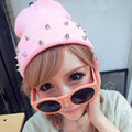 2016 Spring Autumn Winter Women Knitted Hat Female Jelly Fluo Hat Plastic Rivets Wrap Gorro Beanies Cap Warm Candy Colors Caps