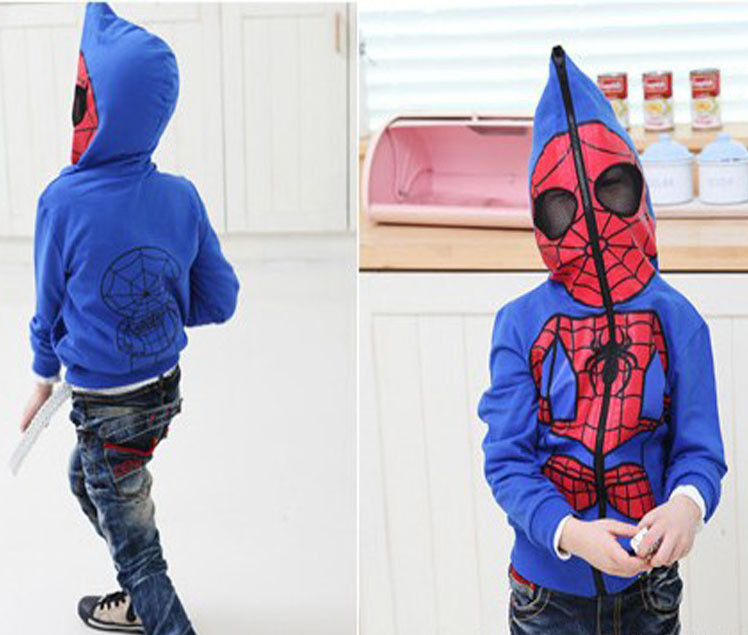 2014 New Spring/Autumn Spiderman Boy's Outerwear & Coat, Boy Kids Coat Jacket, Blue/ Black, Height 120-160cm