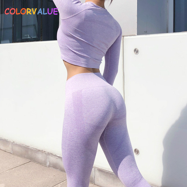 Colorvalue Seamless Sport Suits Slim Fit Training Yoga Crop Top Women High Waist Fitness Tights Leggings Workout Activewear