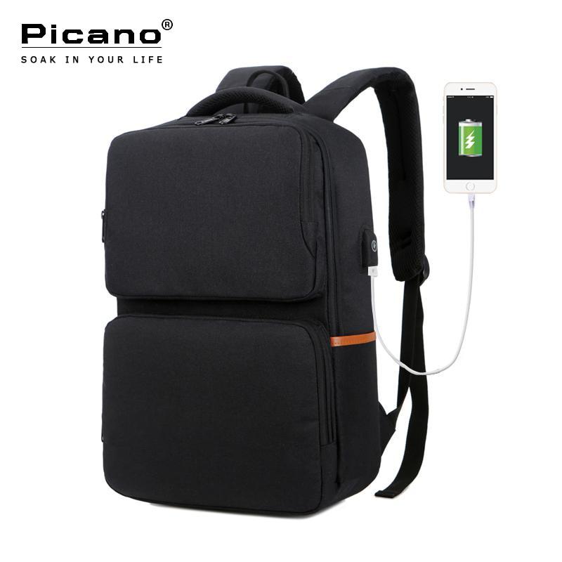 Picano sac à dos scolaire USB Charge hommes 15.6 pouces collège étudiant sac pour femme adolescent garçon fille sac à dos décontracté PCN006-in Sacs à dos from Baggages et sacs    1