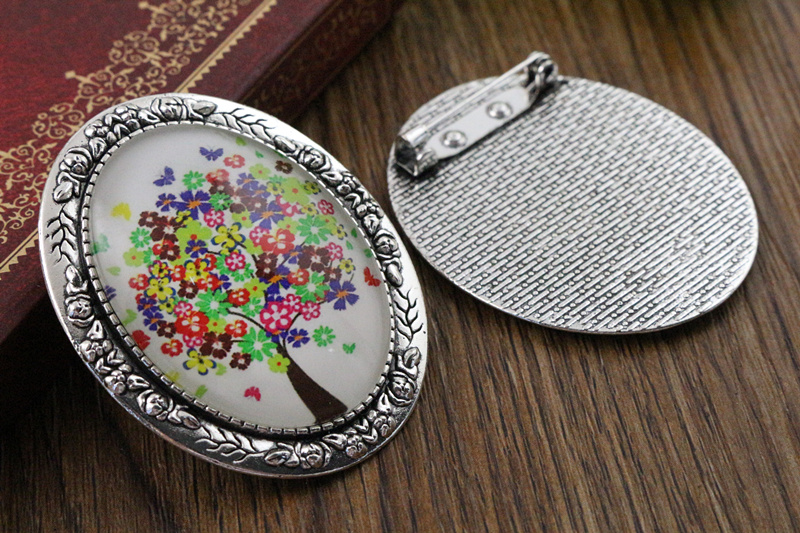 New Fashion  2pcs 30x40mm Inner Size Antique Silver Pin Brooch Flowers Style Base Setting Pendant (B3-45)