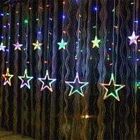 YIYANG 2M Christmas Lights AC 220V EU Romantic Fairy Star LED Curtain String Holiday Wedding Garland