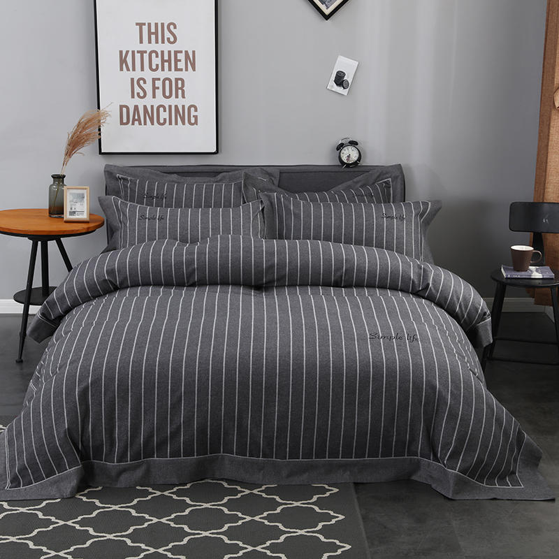 2018 100%  cotton  Brief solid  Bedding Set .Duvet Cover Bed sheet Bed Linen Pillowcases.Foison DarkGray2018 100%  cotton  Brief solid  Bedding Set .Duvet Cover Bed sheet Bed Linen Pillowcases.Foison DarkGray