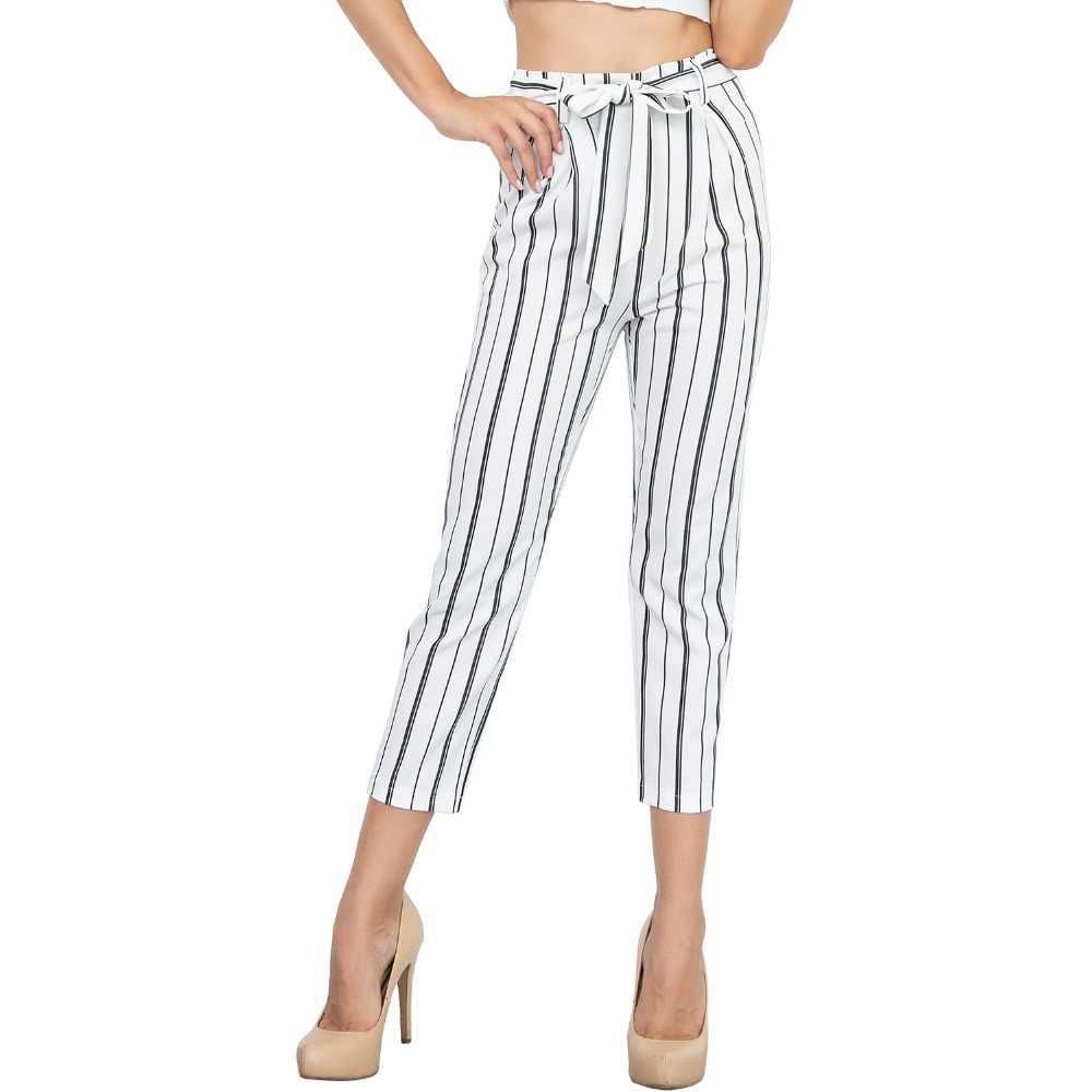 Verano nueva moda señoras pantalones de cintura alta moda Pantalones casual suelta cinturón señoras pantalones rayas Delgado mujer nueve Pantalones