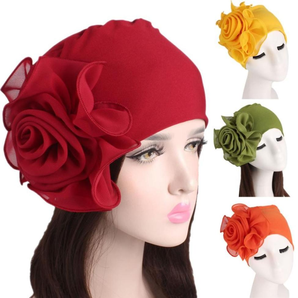 Women turban hat Cotton Solid Wrinkle Cap Headscarf Chemotherapy Hat   Beanie   Piles Cap Wrinkle chapeau femme Muslim Hats 2019 NEW