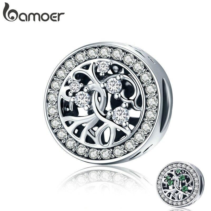 BAMOER Venta caliente 100% plata esterlina 925 2 colores Árbol de Vida claro CZ encanto perlas encajar pulsera DIY de las mujeres regalo de la joyería SCC616