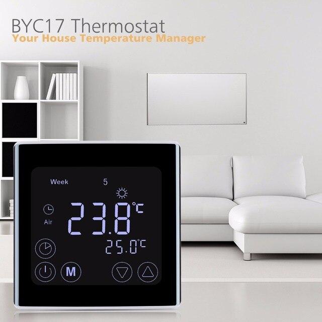 Floureon byc17gh3 lcd tela de toque quarto aquecimento por piso radiante termostato semanal programável termorregulador controlador temperatura