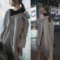 [Soonyour] 2017 весенняя мода новый повседневная Мода Товары Полоса Рубашка Без Бретелек Нерегулярные Ложные Два Пункта длинная рубашка женщина AK3201