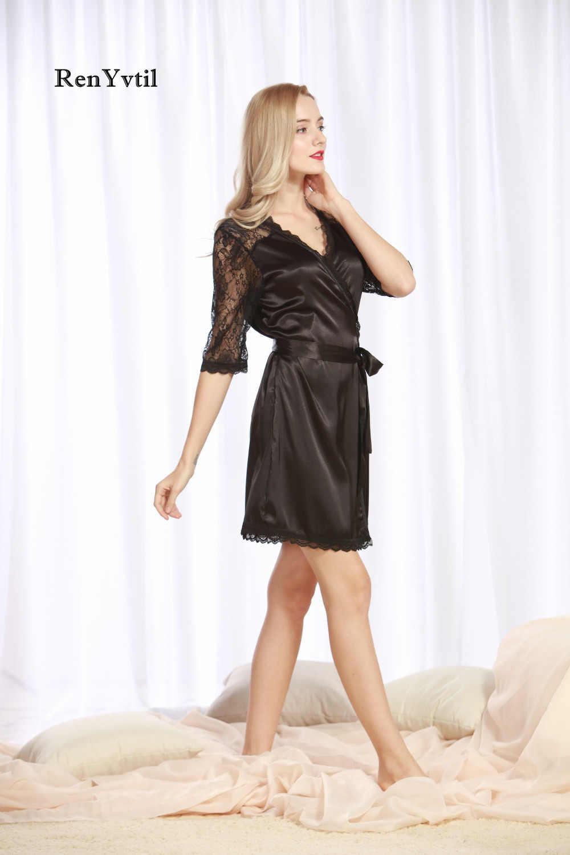 RenYvtil פיג 'מה בתוספת גודל נשים סקסי משי תחרת הלבשה תחתונה שמלת סאטן הלבשה תחתונה הלבשת שמלת חלוק לילה קימונו קצר רשת Loung