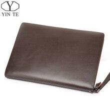 YINTE Men s Leather File Folder Bag A4 Paper Leather File Document Clutch Wallets Business Zipple