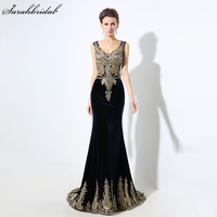 New Elegant Embroidery Velvet Formal Evening Dresses Gold Lace 2017 Mermaid Prom Gown Lace Up Prom