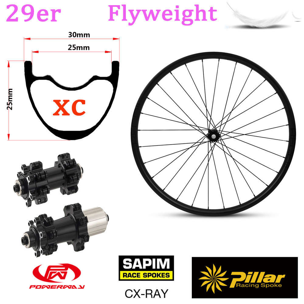 345g Light Weight 29er Carbon Rim Tubeless Ready For Mountain Bike wheel XC mtb wheelset With Taiwan Powerway M42 Straight Pull