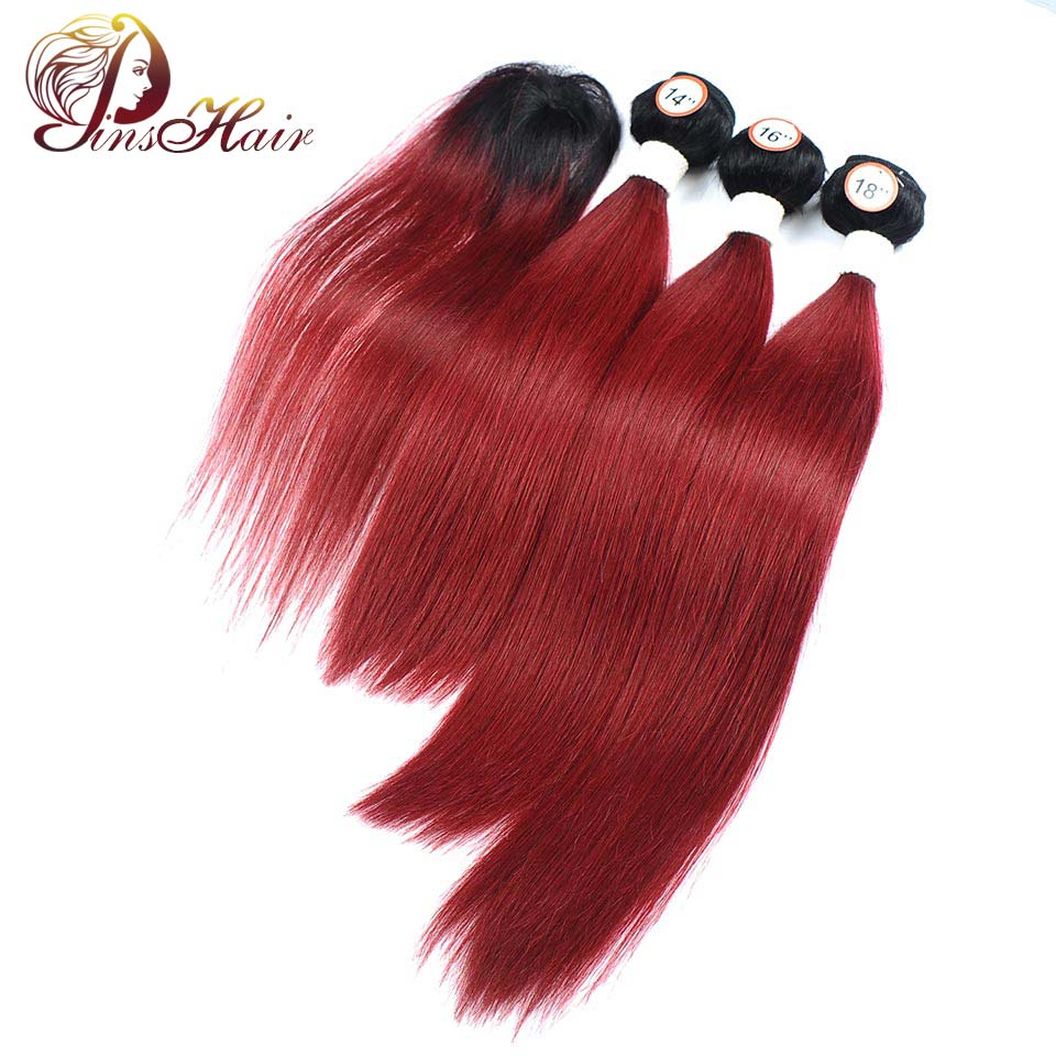 Pinshair Malaysian Hair Red Burgundy 3 Bundles With Closure Ombre 1B 99J Dark Roots Straight Human Hair Non Remy Thick Bundles