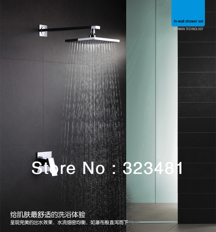 Square Brass Bathroom Rainfall Shower Set for hotels in wall single handle including shower head shower faucet good quality wall mounted square style brass waterfall shower set new bathroom shower with handle rainfall shower head