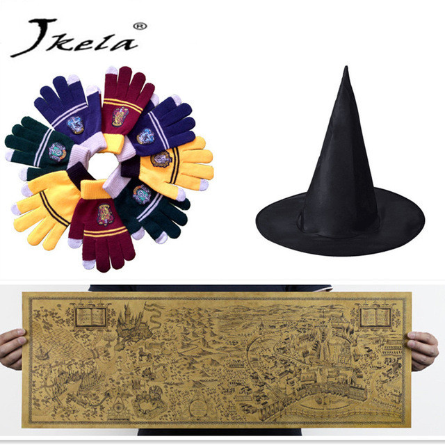 [Jkela] Harry Potter Magic World Map Kraft Paper Cosplay glasses College Gloves Gryffindor Touch Screen necklace Wizard
