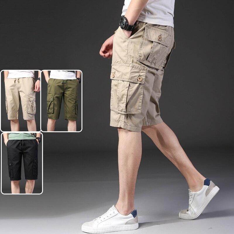 Khaki Army Green Black Color Elastic Waist Drawstring Safari Style Multi Pockets Bermuda Cargo Shorts For Men Boys Summer Season