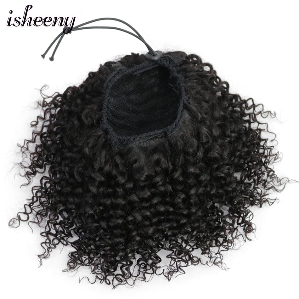 Isheeny Afro Kinky Curly Ponytail Extensions Clip Ins 8 18 Natural Black Brazilian Remy Human Hair