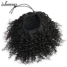"Isheeny Afro Kinky Curly Ponytail Extensions Clip-Ins 8""-18"" Natural Black Brazilian Human Hair Adjustable Pony Tail(China)"