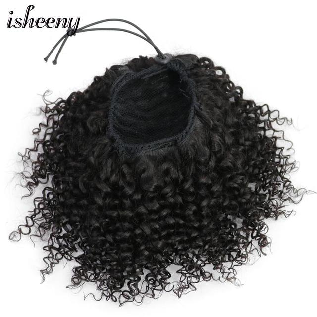 "Isheeny Afro rizado extensiones de cola de caballo Clip-Ins 8 ""-18"" Natural negro brasileño Remy cabello humano ajustable de cola de caballo"