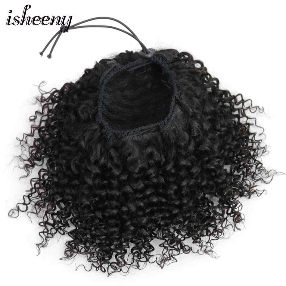 """Isheeny афро кудрявый конский хвост для наращивания клип-Ins 8 """"-18"""" натуральные черные бразильские человеческие волосы Регулируемый хвост пони"""
