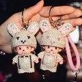 7 Цвета Симпатичные Monchichi Брелок Горный Хрусталь Кукла брелок Автомобиля Брелок Женщины шарм Сумочка Брелок