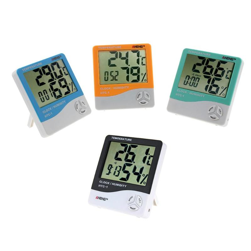 Alloet Indoor LCD Electronic Temperature Humidity Meter Digital Thermometer Hygrometer Weather Station Alarm Clock HTC-1