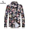 SHAN BAO marca roupas cor da camisa Hawaii estilo moda outono dos homens de alta qualidade longa-camisa de mangas compridas de Slim 16018