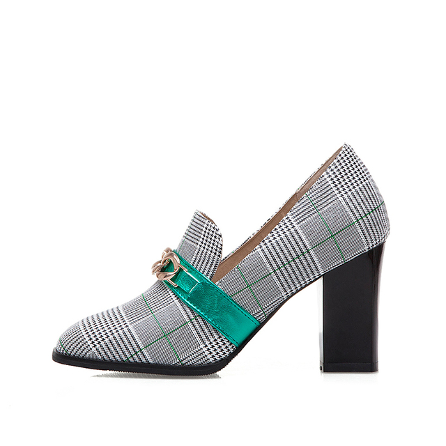 High Heel Loafers - Plaid Print - 2 Colors 1