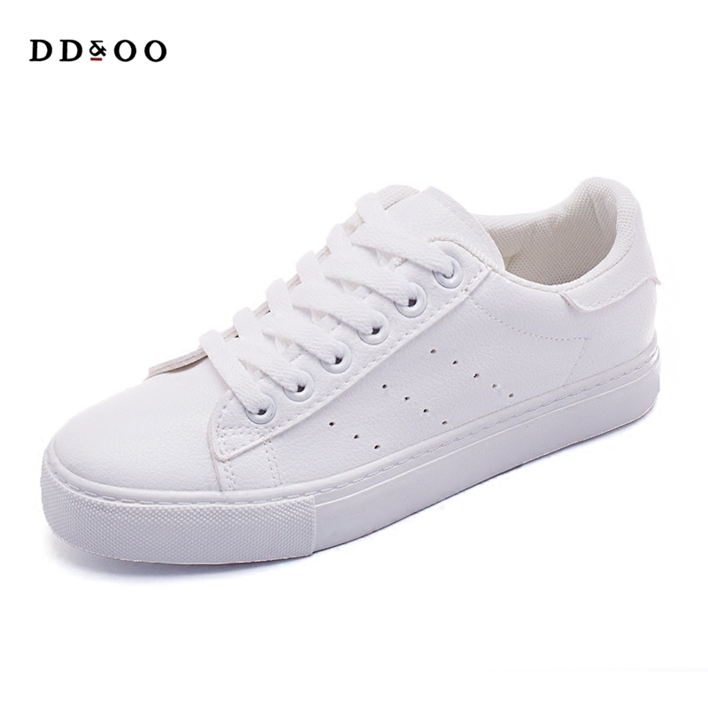 2017autumn new fashion women shoes flats casual sport breathable PU leater classic solid color white  shoes women sneakers free shipping candy color women garden shoes breathable women beach shoes hsa21