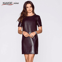 KAIGE NINA autumn winter style woman fashion PU leather dress slim round collar short sleeved women casual mini dress 2247