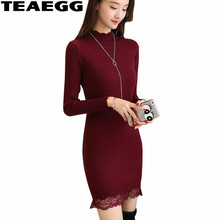 TEAEGG Mini Winter Dresses Women 2017 Elegant Pencil Dress Lace Clothes Women Wine Red Kintted Autumn
