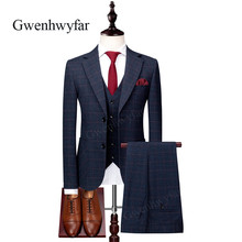 Gwenhwyfar 2018 Autumn New Navy Plaid Business Men Formal Suits Notch